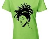 Afro T-shirt- Lovely Locs Natural Short Sleeve Vneck Women's Tshirt