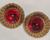 Designer Signed David DUBIN NR Chunky Round Red Glass Cabochon Filigree Clip Earrings