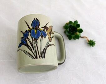 Vintage Humming Bird Mug on an Iris Stoneware cup Tea Cup Vintage nature mug Gardeners gift  Hummer