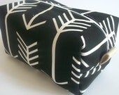 Black Arrow Makeup Bag  - Arrow Cosmetic Pouch -  Lunch Bag - Wet Bag - Waterproof Bag