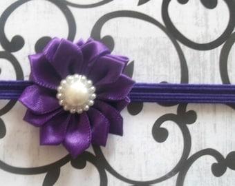 Purple Baby Flower Headband - Small Flower Headband - Baby Photo Prop