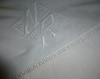 Pure Linen Sheet,  French, Antique, Circa 1920  Monogrammed N.R