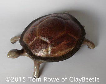 Raku Ceramic Turtle Box / turtle collectible / turtle lover / unique gift / unique turtle / ooak/ ceramic box / trinket box / home decor