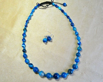 18-27 Inch Blue Striped Agate Grduated Beaded Necklace with Earrings