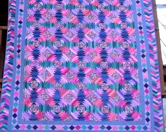 REDUCED!  81 x 93 Inch Hand Made Queen Sized Paper Pieced Purple, Teal and Rose Pineapple Quilt
