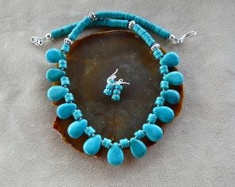 19 Inch Dark Turqoise Teardrop Necklace with Earrings