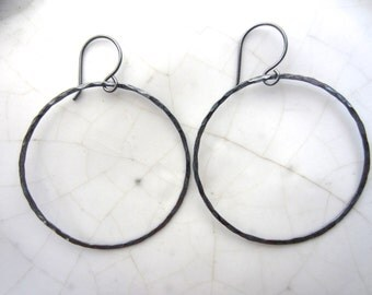 1 Pair Circle Earrings--40 mm, Oxidized Sterling Silver