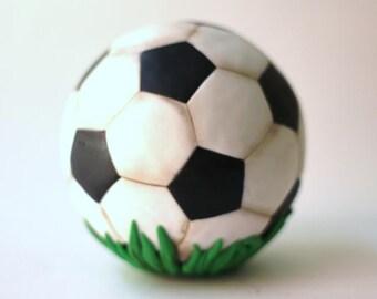 3D Fondant soccer ball cake topper. Soccer ball fondant toppers. Sports fondant toppers. Soccer cake toppers.