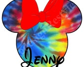 Tie Dye Minnie Mouse Personalized Iron-On Digital File