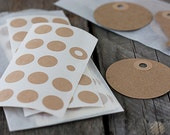 Brown Kraft Reinforcement Stickers.  Hole Reinforcement Stickers.
