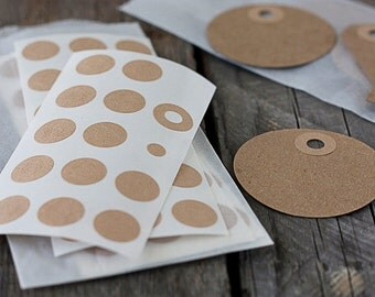 Brown Kraft Reinforcement Stickers.  Hole Reinforcement Stickers. Qty 144.