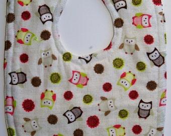 Owl Bib - Baby Boy Bib - Baby Girl Bib - Feeding Bibs - Gender Neutral Baby - Owl Baby - Cotton Baby Bib - Toddler Bibs - Dribble Bibs