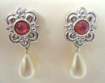 Silver Renaissance Ruby and Pearl Filigree Earrings