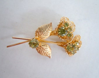 Gold filigree and Pale Green Crystal Floral  Brooch