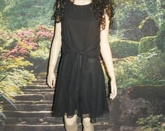 Dress Little Black Cocktail Dress Sheer Black Chiffon Over Black Crepe Extra Wide Front or Back Tie  By Kenar Size 10