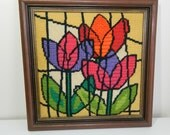 Vintage Embroidered Picture of Tulips, Framed 1970s Needle Work Picture