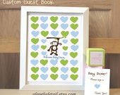 Guest book Baby Shower decoration  Monkey  Guestbook  Print - Personalized Print - Nursery Print -(Includes Instruction card)