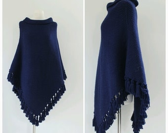Navy Blue, Hand Knit, Cape