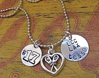 Lacrosse Necklace.  Custom Lacrosse Player.  Lacrosse Mom.  Senior Gift.