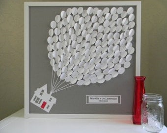 Large wedding guest book alternative 3D paper balloons lovely bridal shower gift. modern guestbook alternative. Up house, Up wedding