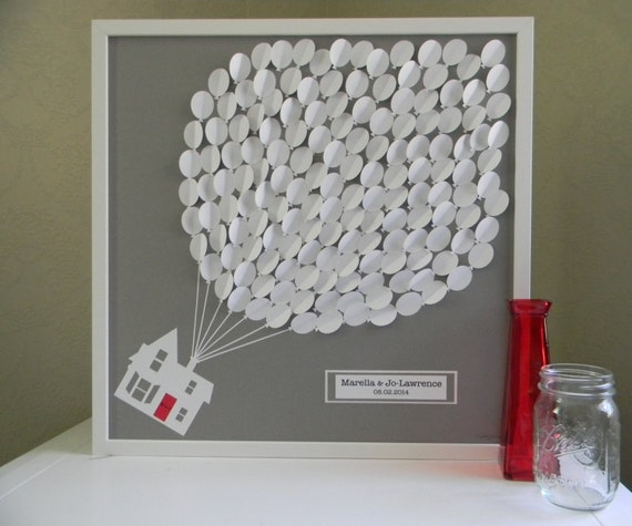 Alternative Wedding Gifts: Large Wedding Guest Book Alternative 3D Paper Balloons Lovely