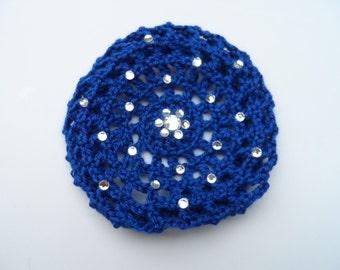Medium Bun Cover with Rhinestones, Many Colors, Crochet Bun Cover, Bun Wrap, Bun Holder, Snood, Ballet, Dance, Gymnastics,