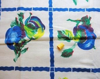 blue fruit novelty print vintage full feedsack fabric