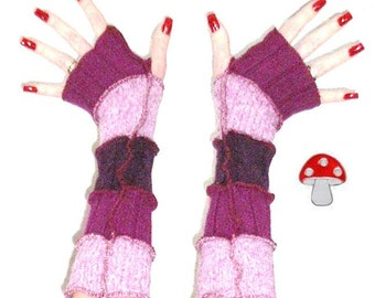 """Arm Warmers DEPOSIT Special Order """"Plum Crazy"""" Fingerless Gloves Purple Upcycled Recycled Sweater Warmies Plum Lavender Texting Mittens"""