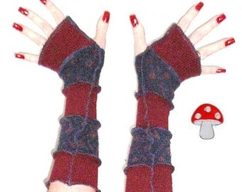 """Arm Warmers DEPOSIT Special Order """"Cranberry Brulee"""" Fingerless Gloves Burgundy Navy Upcycled Recycled Sweater Warmies Wearable Art"""
