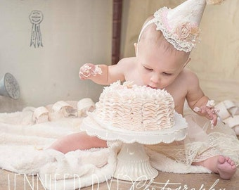 Vintage Couture Ivory, Blush Pink and Gold Birthday Girl Party Hat - Beautiful First Birthday Photography Prop