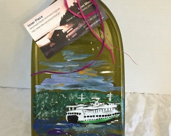 Hand Painted Seattle Ferry Landscape Green Glass Wine Bottle Tray/Platter