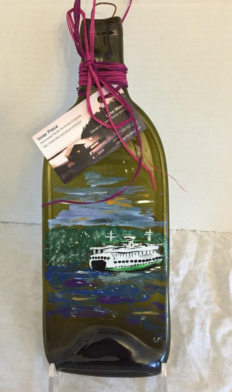 Hand Painted Seattle Ferry Landscape Green Glass Wine Bottle Tray/Platter