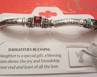 Daughter Silver Crystal Message Blessing Bracelet Valentine's Day Mothers Day Easter