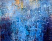 "original oil and wax abstract painting in many shades of blues, white and yellow, 24""x20"""