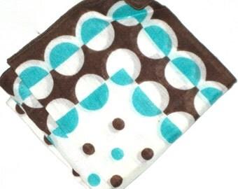 Vintage cotton hanky blue brown polka dots handkerchief geometric deco style