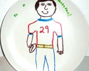 Vintage melmac plate Texas Ware cute drawing of a sportsman plastic dinnerware display