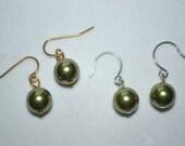Green Swarovski Pearl Earrings ~  Pierced or Clip On