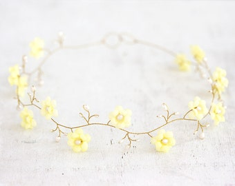 52_Yellow floral circlet, Flower circlet, Hair accessories, Floral headband, Circlet bride, Wedding circlet, Bridal hair piece Diadem flower