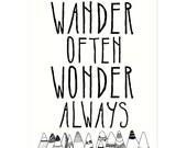 Wander Often Wonder Always® by Hello Small World - Inspirational Print, Kids Room, Childrens Art, Nursery Decor, Adventure Typography Print