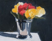 Flowers In Silver Cup, Still Life Painting, Oil on wood panel, 8x10 inch Canadian Fine Art