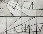 """Modern Black and White Ink Drawing 9.5x11.75 """"Constructing a Row"""""""