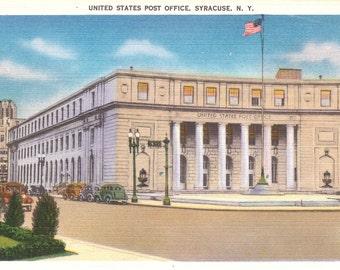 Vintage Linen Postcard.....New York, United States Post Office, Syracuse NY...Unused...no. 1917