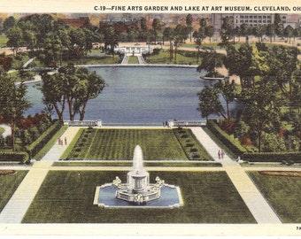 Vintage Linen Postcard...Fine Arts Garden and Lake at Art Museum, Cleveland, Ohio...Unused...no. 2105