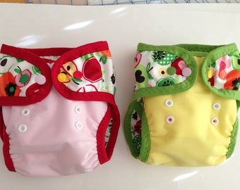 Swim Diapers/Pocket Diapers - Choose Dinosaurs or Fruit PUL with leg gussets and FOE.  Made to  Order