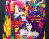 Lisa Frank NEW 90's Puzzle Note Card Set Stationary Dogs Confetti Sticke