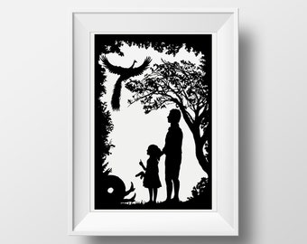 The Tale of the Juniper Tree Silhouette Fairytale Illustration, Giclee Archival Art Print with or without Mount - Brothers Grimm poster art