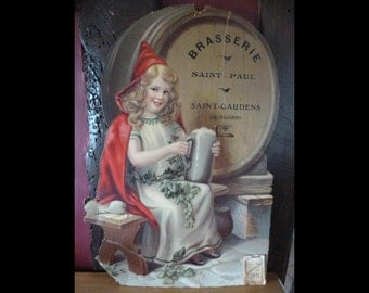 Wall Calender Art Nouveau Lady Shabby Chic French Brewery Advertising 1911