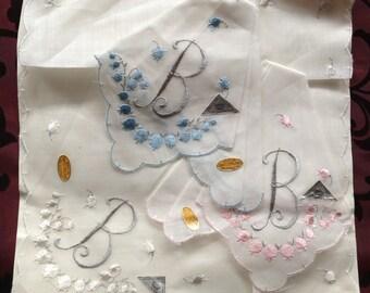 Set of Three Hankies -  Vintage, Embroidered  monogrammed  B Handkerchiefs - Never used