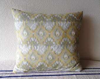 Yellow and Grey IKAT Pillow covers 18 x18