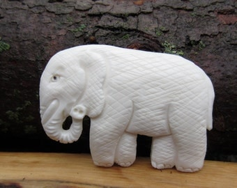 Gorgeous Hand carved Elephant,Carved Buffalo bone cabochon, Jewelry making Supplies S5000